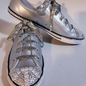 Metallic Silver and Pearl handcrafted Converse 8